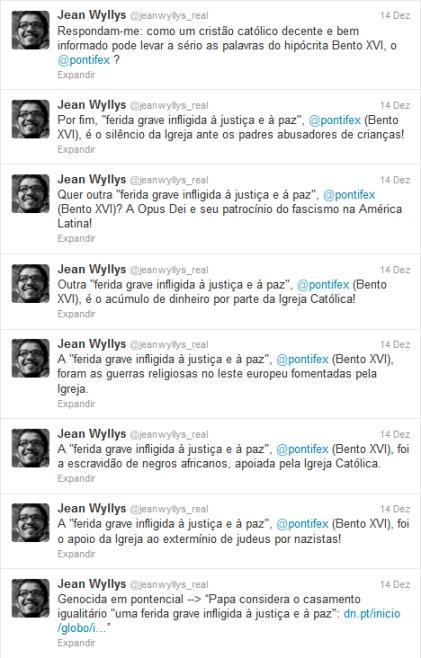 Jean Wyllys ataca o Santo Padre Twitter